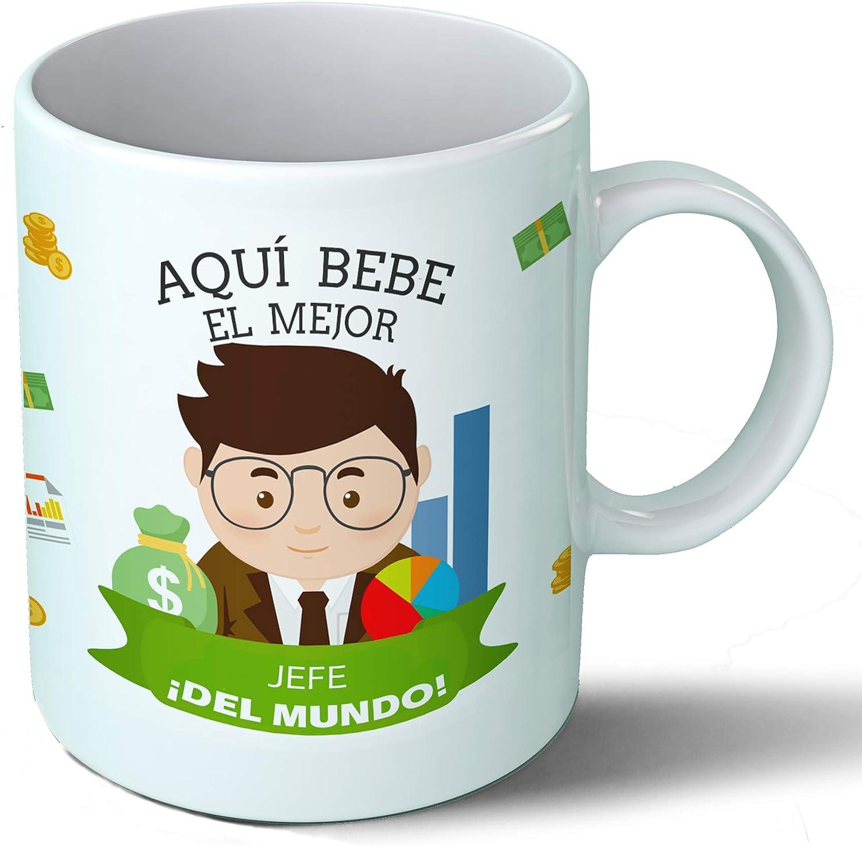 Planetacase Taza Desayuno Aquí Bebe el Mejor Jefe del Mundo Regalo Original Empresa Ceramica 330 mL