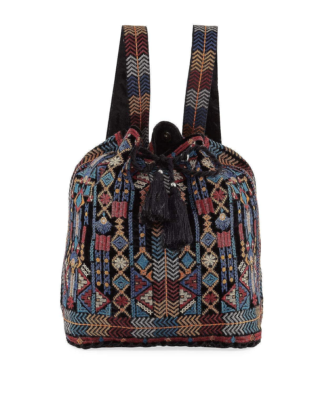 Johnny Was Cleo Velvet Soft Backpack Drawstring Black Tribe Multi HANDBAG New