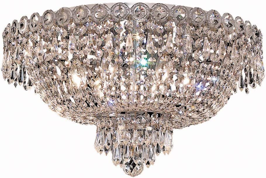 Elegant Lighting 1900F18C EC Elegant Cut Century 6-Light, Single-Tier Flush Mount Chandelier, Finished in Chrome with Clear Crystals