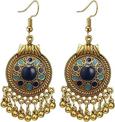 3 Pairs Women Bohemian Engrave Flowers Earrings Long Hollow Boho Dangle Earrings