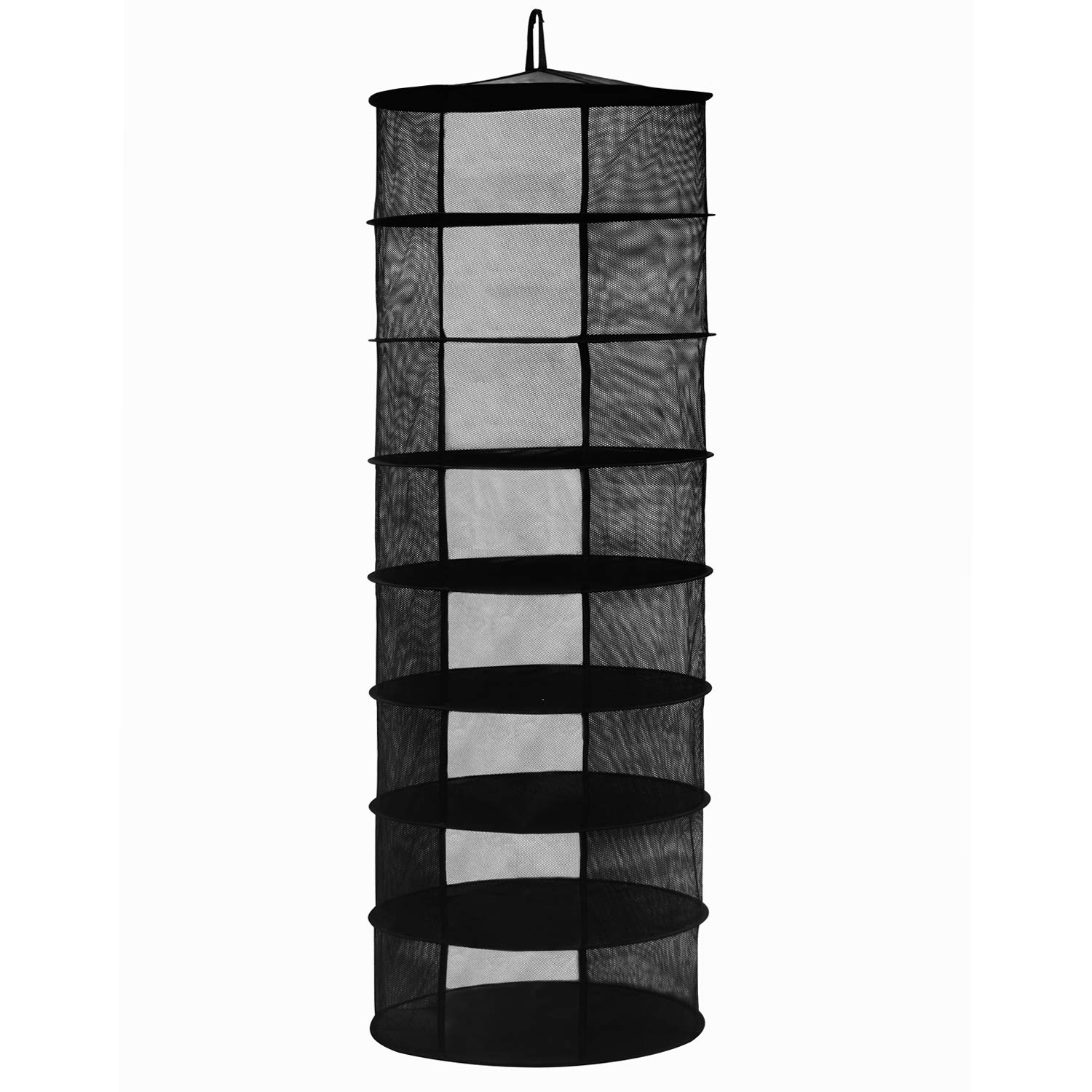 Herb Drying Rack Hanging Herb Dryer Net W/Carry Bag Mesh for Herbs Buds Plants (D24-8 Layer, Black)