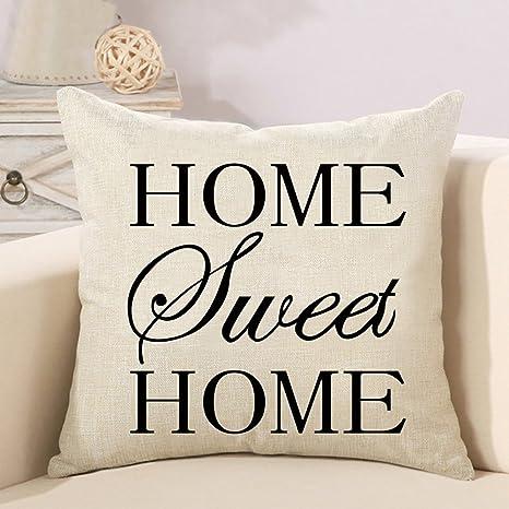 Cuscini Scritte.Federa Per Cuscino Decorativo Home Sweet Home Con Scritta Stampa