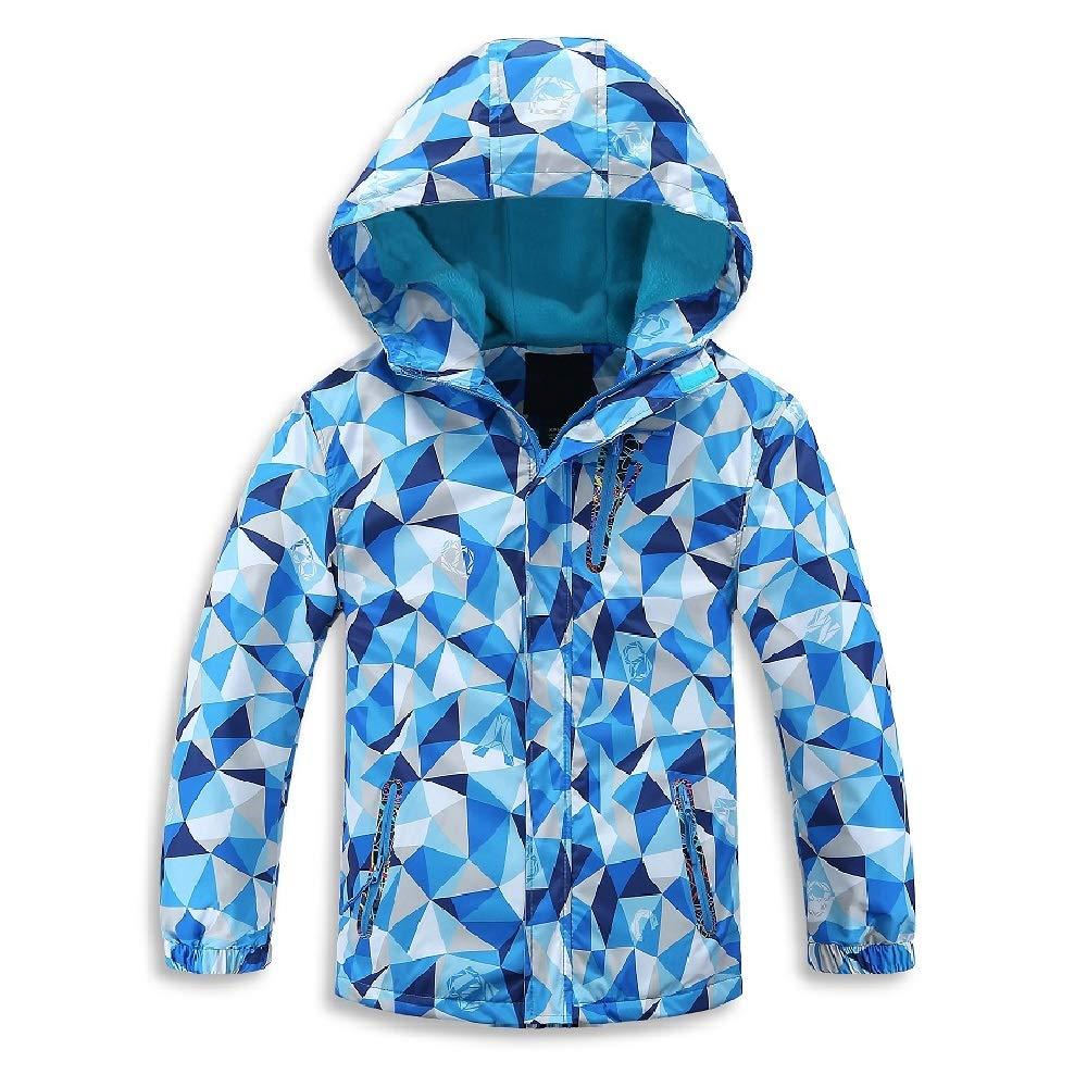 Jingle Bongala Kids Boys Girls Outdoor Waterproof Jacket Fleece Lined Coat with Hood Windbreaker