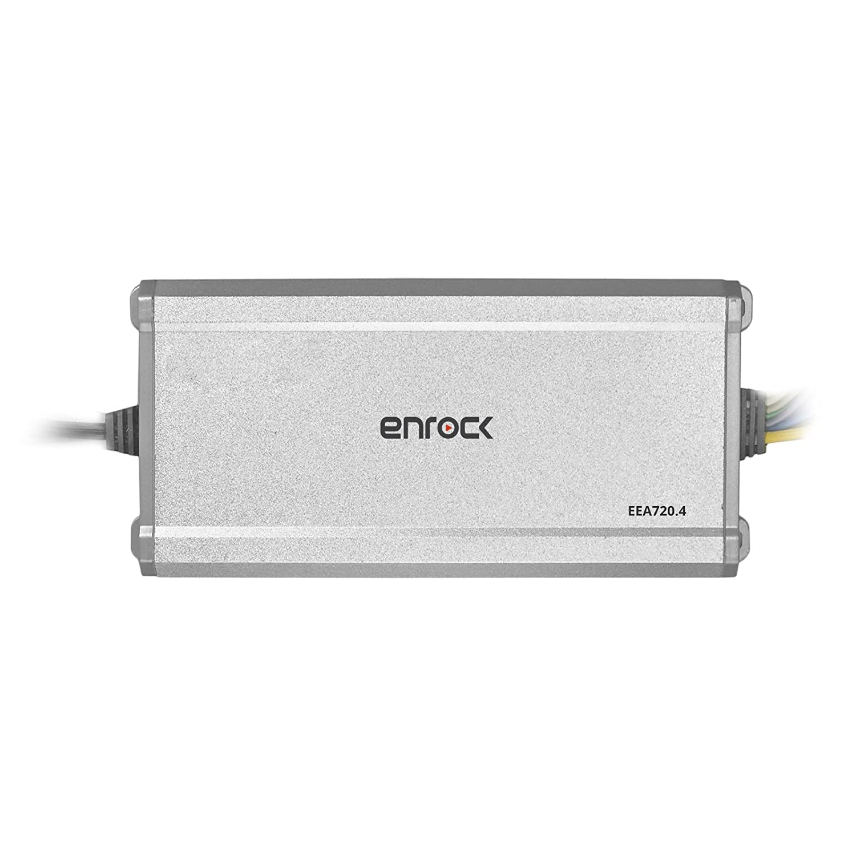 Enrock EM856 Gauge Mount Media Center Marine-Grade Receiver 4-Channel 45W RMS @ 4 Ohms Powersports Amplifier Other Accessories 6 x EnrockMarine 6.5 2-Way 180W Speakers White