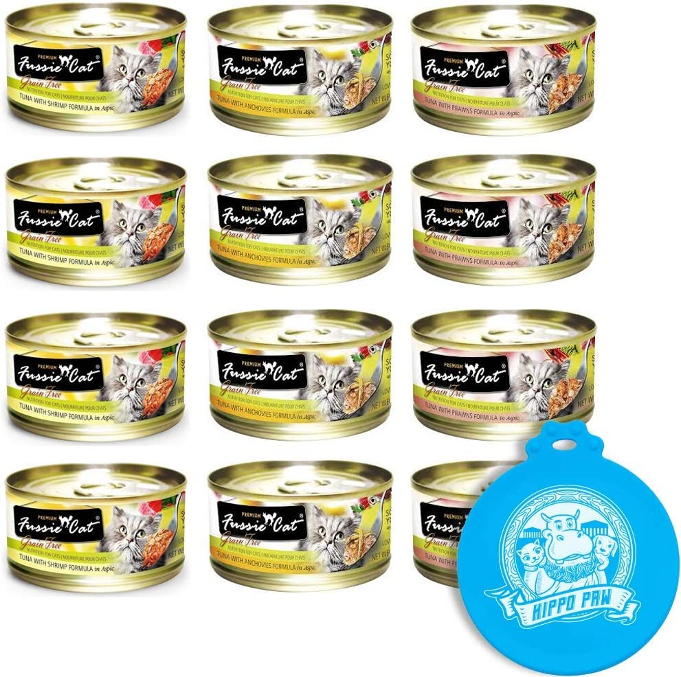 Fussie Cat Premium Can Wet Food Variety 12 Pack (4) Tuna with Anchovies, (4) Tuna with Prawns, (4) Tuna with Shrimp 2.8 oz Cans with Hippo Paw Silicone Universal Can Cover Assorted Color and Design