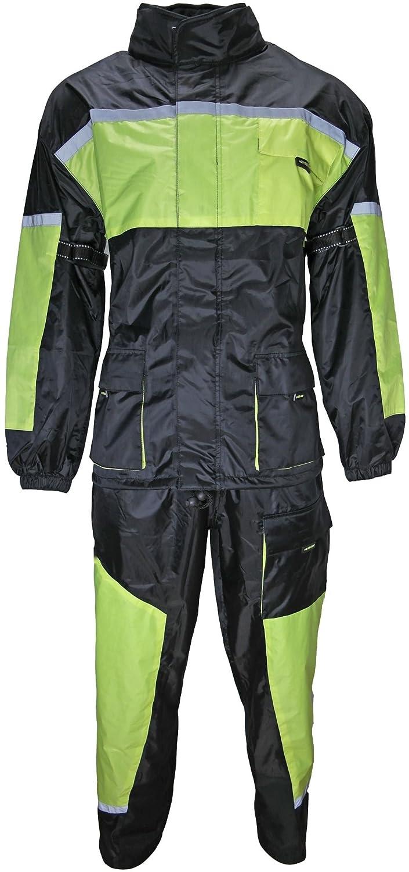 HEYBERRY Motorrad Regenkombi Regenhose Regenjacke schwarz neon grü n Gr. 3XL 10007
