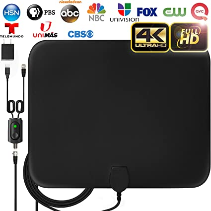 [Latest 2019] Amplified HD Digital TV Antenna Long 120 Miles Range - Support 4K 1080p Fire tv Stick and All Older TVs Indoor Powerful HDTV Amplifier ...
