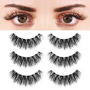 BEPHOLAN 3 Pairs False Eyelashes Synthetic Fiber Material| 3D Mink Lashes| Cat Eyes Look| Reusable| 100% Handmade & Cruelty-Free|