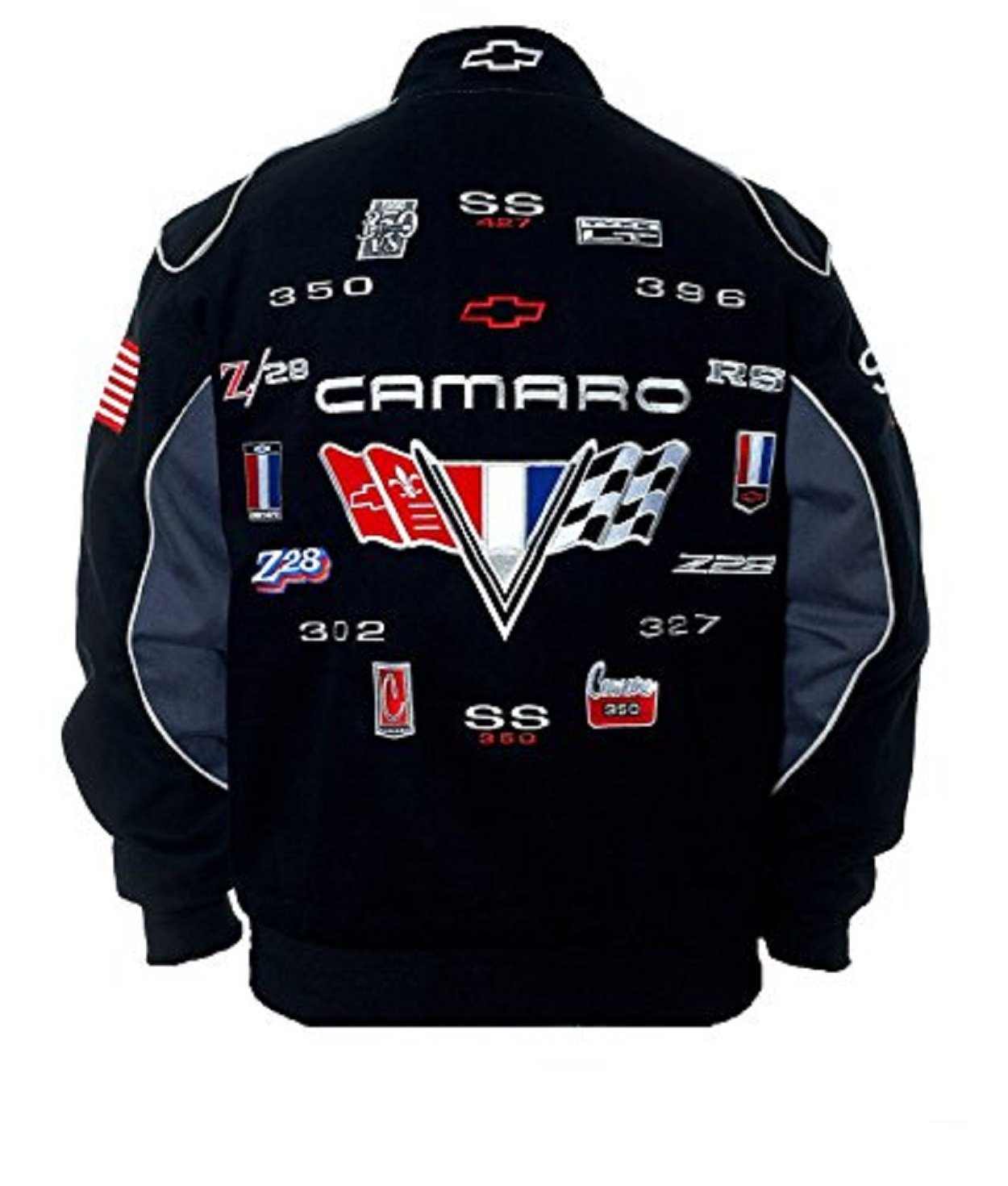 JH DESIGN Camaro Racing Cotton Black Jacket Size XLarge