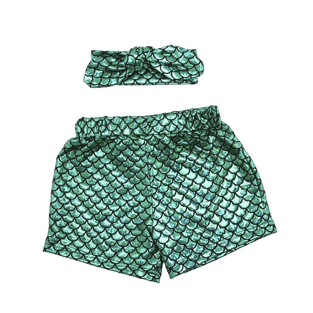 Coralup 2pcs Set Little Girls Mermaid Shorts Leggings & Headband(Green,4-5Y)