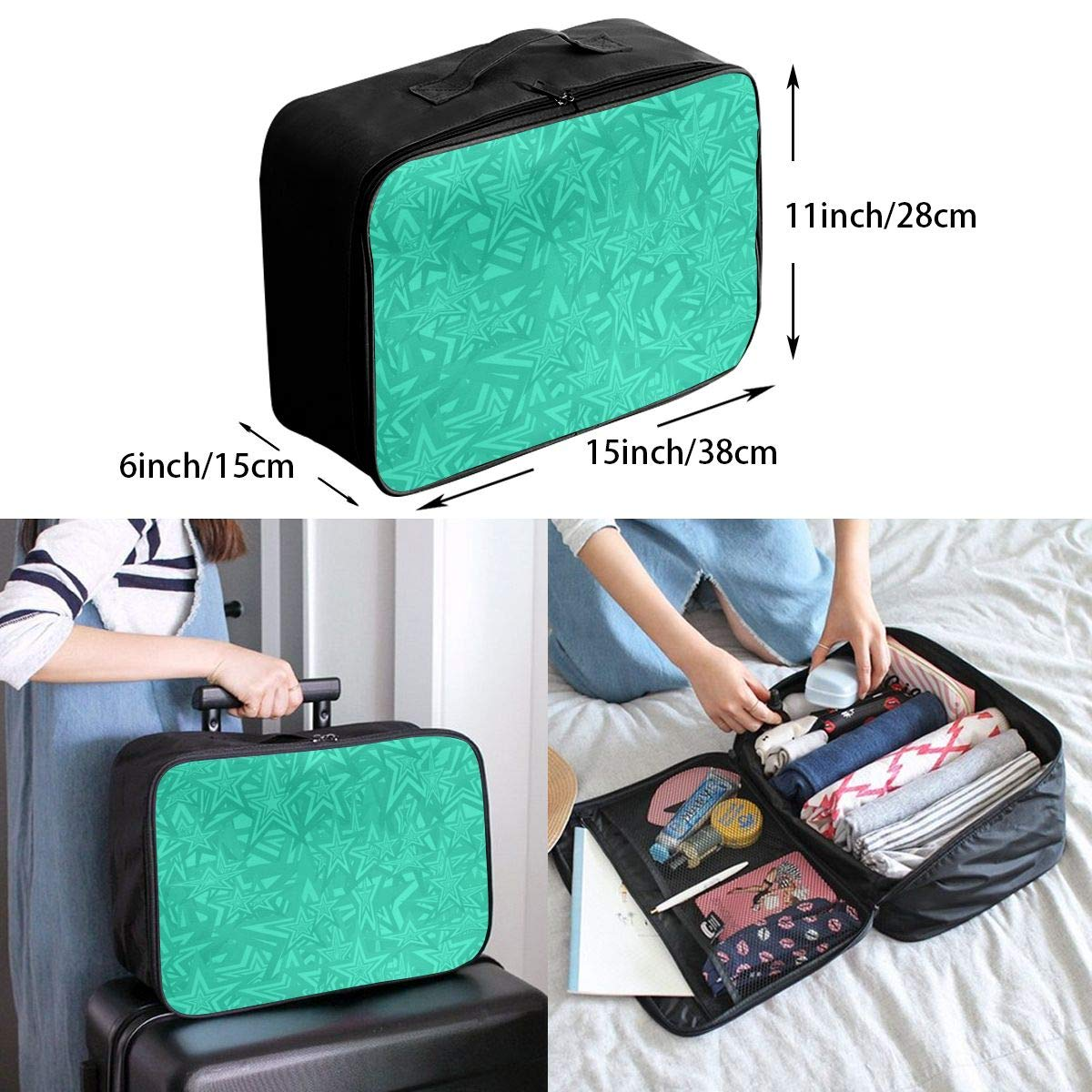 Multi Color Flower Art Texture Line Travel Lightweight Waterproof Foldable Storage Carry Luggage Large Capacity Portable Luggage Bag Duffel Bag