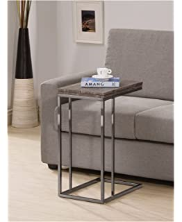 Bon Weathered Grey Finish Expandable Snack Side End Table