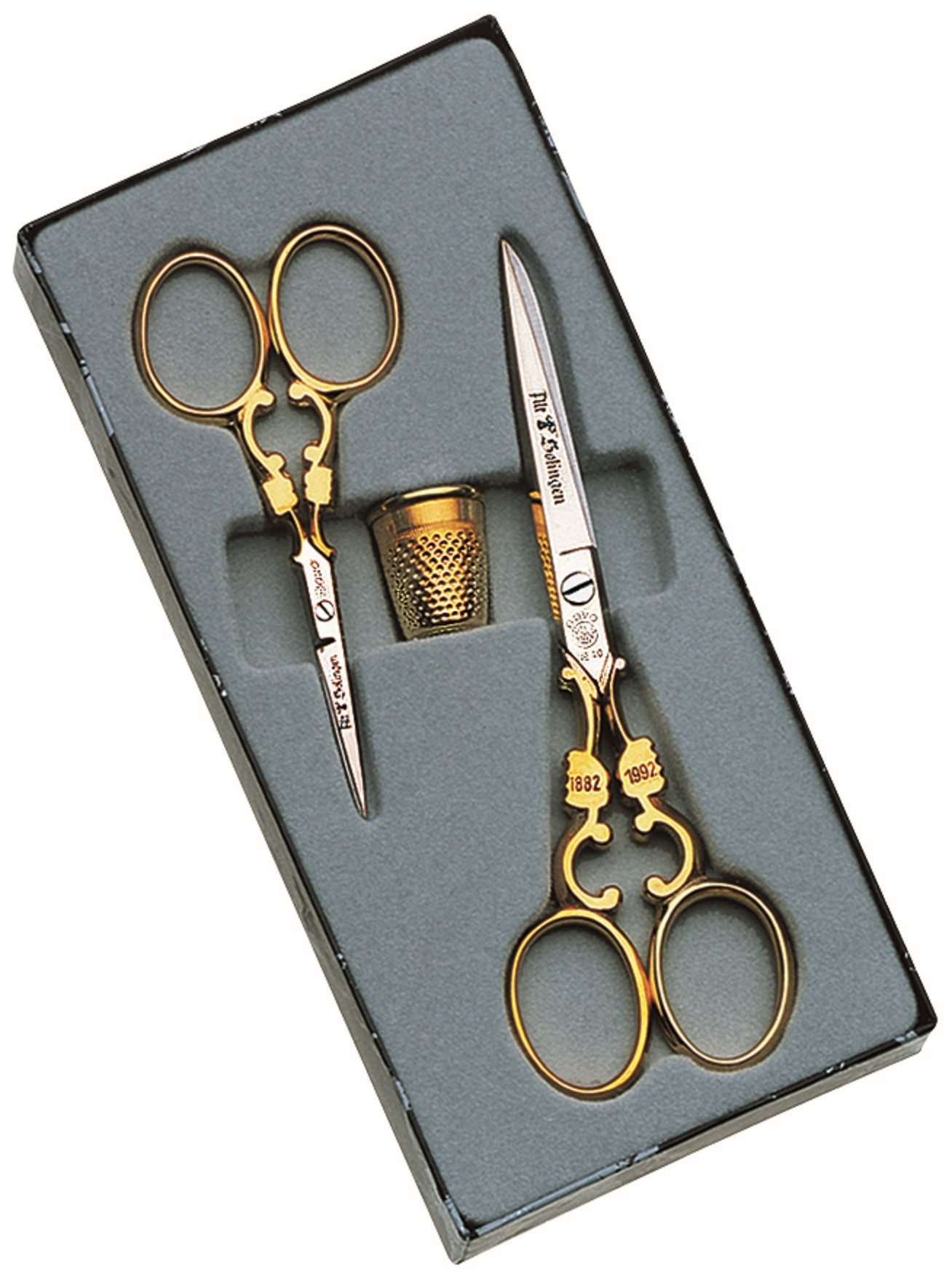 Dovo Scissors Set w/ Thimble Nickel and Gold Plated