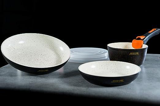 ECO-DE Set de 3 Piezas de sartenes con revestimineto cerámico y Granito con Mango Extraible Granite Stone (2 sartenes, 1 cazo y 2 Tapas) Apto para ...