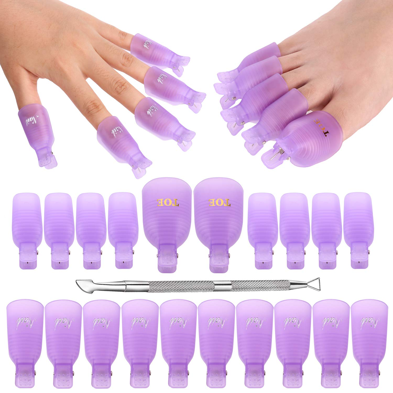 Gel Nail Polish Remover, Hekoy Acrylic Nail Clips Wraps Caps Cuticle Pusher Set for Women Fingernail Toenail 21pcs