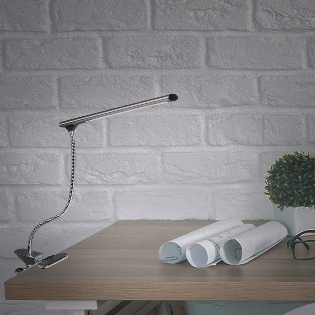 – CeSunlight LED Clip on Desk Lamp Bed Headboard Light with Clamp for Reading