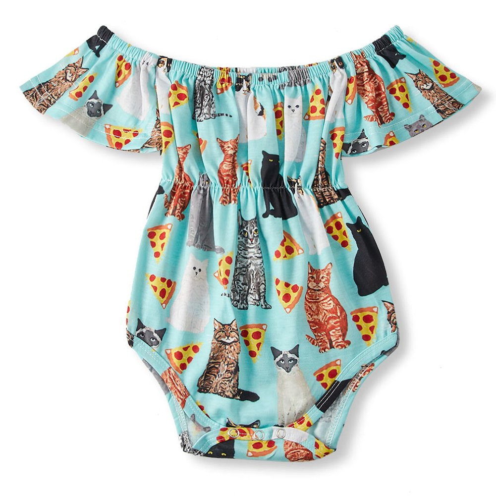 BFUSTYLE Toddler Little Kids Rompers Short Sleeve Dresses Outfits Romper with snap Closure for 6-12 Months Baby Girls Casual Clothes Pajamas