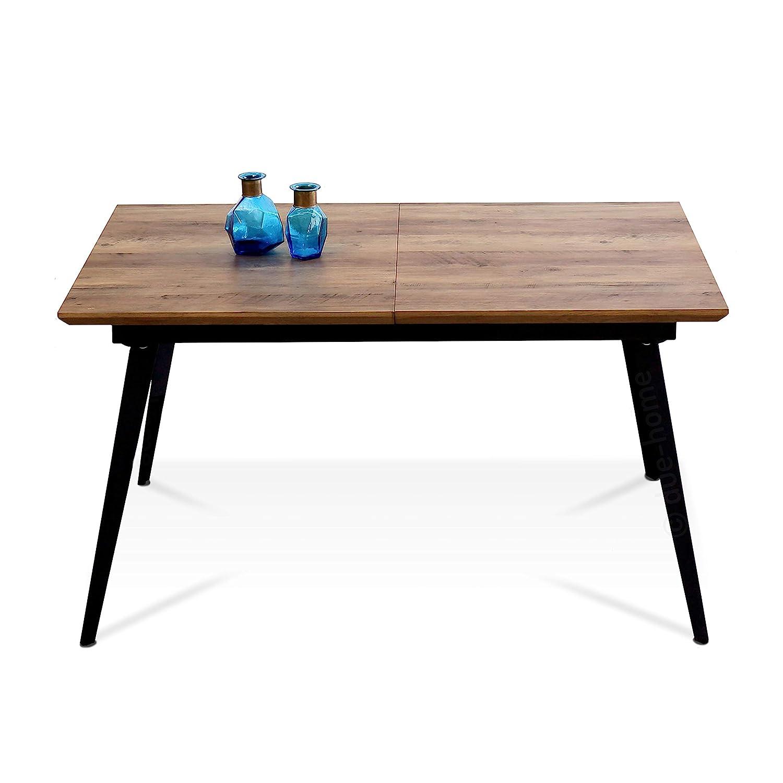 Mesa de Comedor Branch Largo Adec Medidas: 140-180 cm . x 80 cm Ancho Alto x 77 cm Mesa Salon Extensible Color Nogal y Negro
