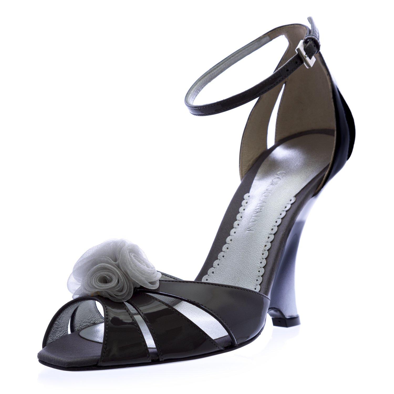 Giorgio Armani Women's Patent Leather Stiletto Wedges 10 Grey
