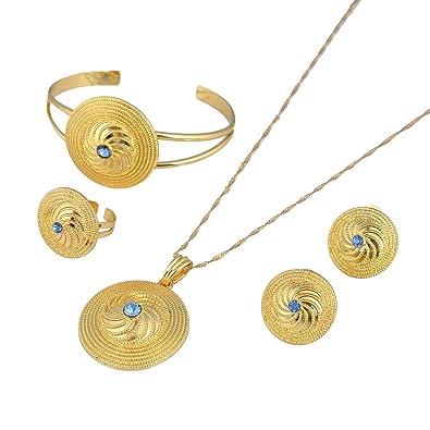 Amazoncom Ethiopian 24K Gold Jewelry Set For Habesha Wedding