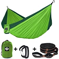 """Nordmiex Double Camping Hammock With Tree Straps - Portable Parachute Hammock for Two Persons,Include 9' Heavy Duty Hammock Tree Straps and Premium Aluminum Carabiners,118""""(L) x 78""""(W)"""