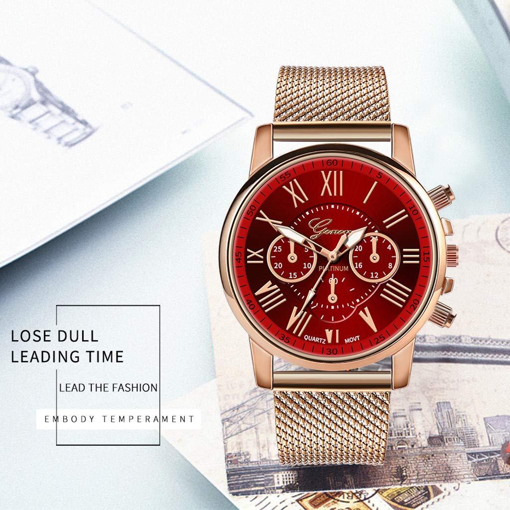 Pocciol Fashion Military Stainless Steel Quartz Watch Womens Casual Watch Luxury Analog Wristwatch (Red) by Pocciol Cheap-Nice Watch (Image #2)