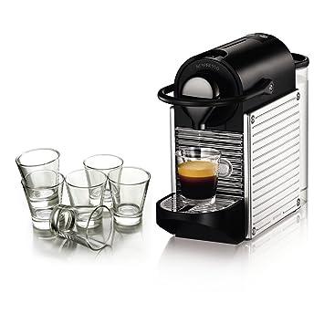 Nespresso Pixie cromo automático máquina de espresso con libre Juego de 6 vasos de espresso: Amazon.es: Hogar