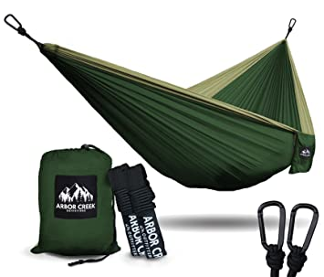 best double camping hammock by arbor creek outfitters   extremely durable and lightweight nylon fabric   amazon    best double camping hammock by arbor creek outfitters      rh   amazon