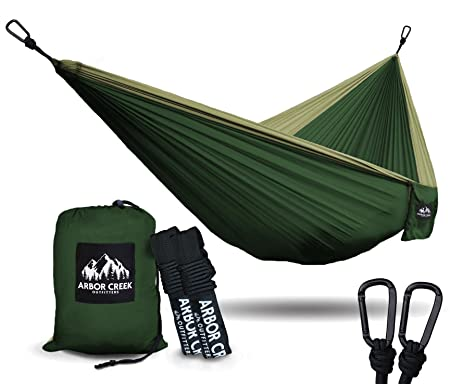 XL Double Camping Hammock – Heavy Duty and Ultralight Nylon Travel Hammock – Upgraded Carabiners Portable Hammock with Tree Straps Indoor Backyard Hammock Easy Setup Hammock – Holds 500 lbs
