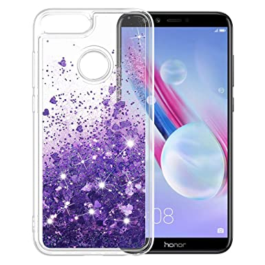 official photos 0f680 14e91 LK Case for Huawei Honor 9 Lite, Slim Shiny bling Glitter Sparkly Crystal  Liquid Cover - Purple