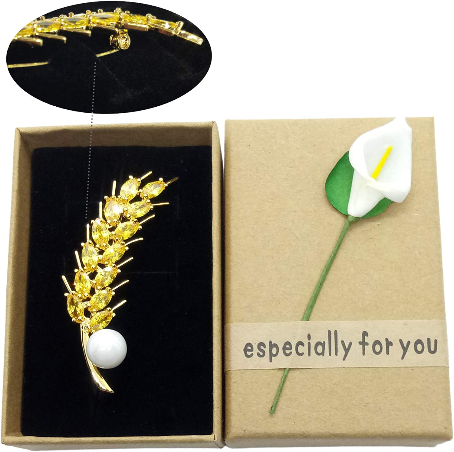 NONOSIZE Bling Bling Wheat Shape Brooch Fine Fashion White Pearl Yellow Crystal Brooch