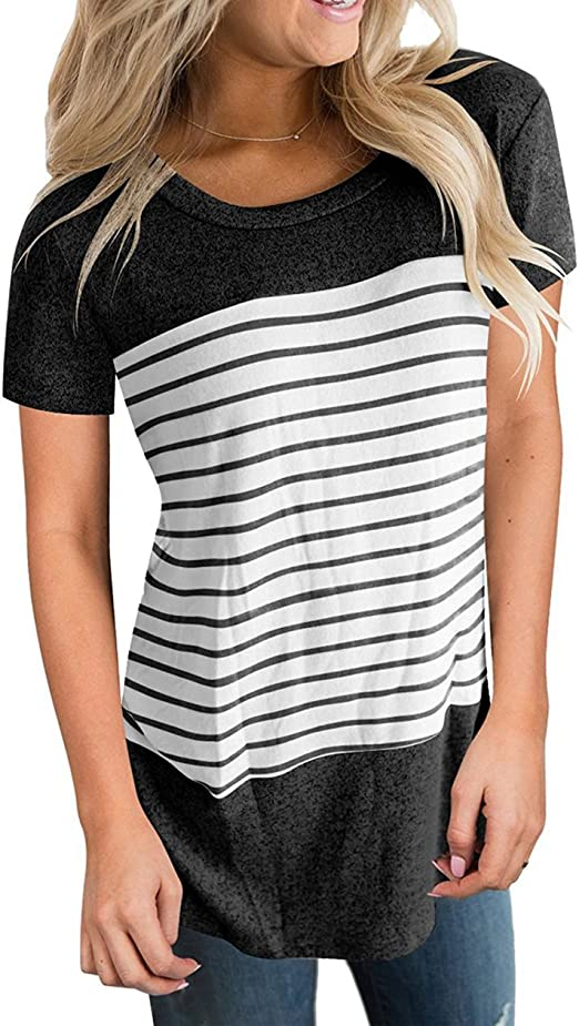 Hurrybuy Women Shirts for Leggings Tops Short Sleeve Stripe Leopard Print Round Neck Pocket Casual T Shirts Tees
