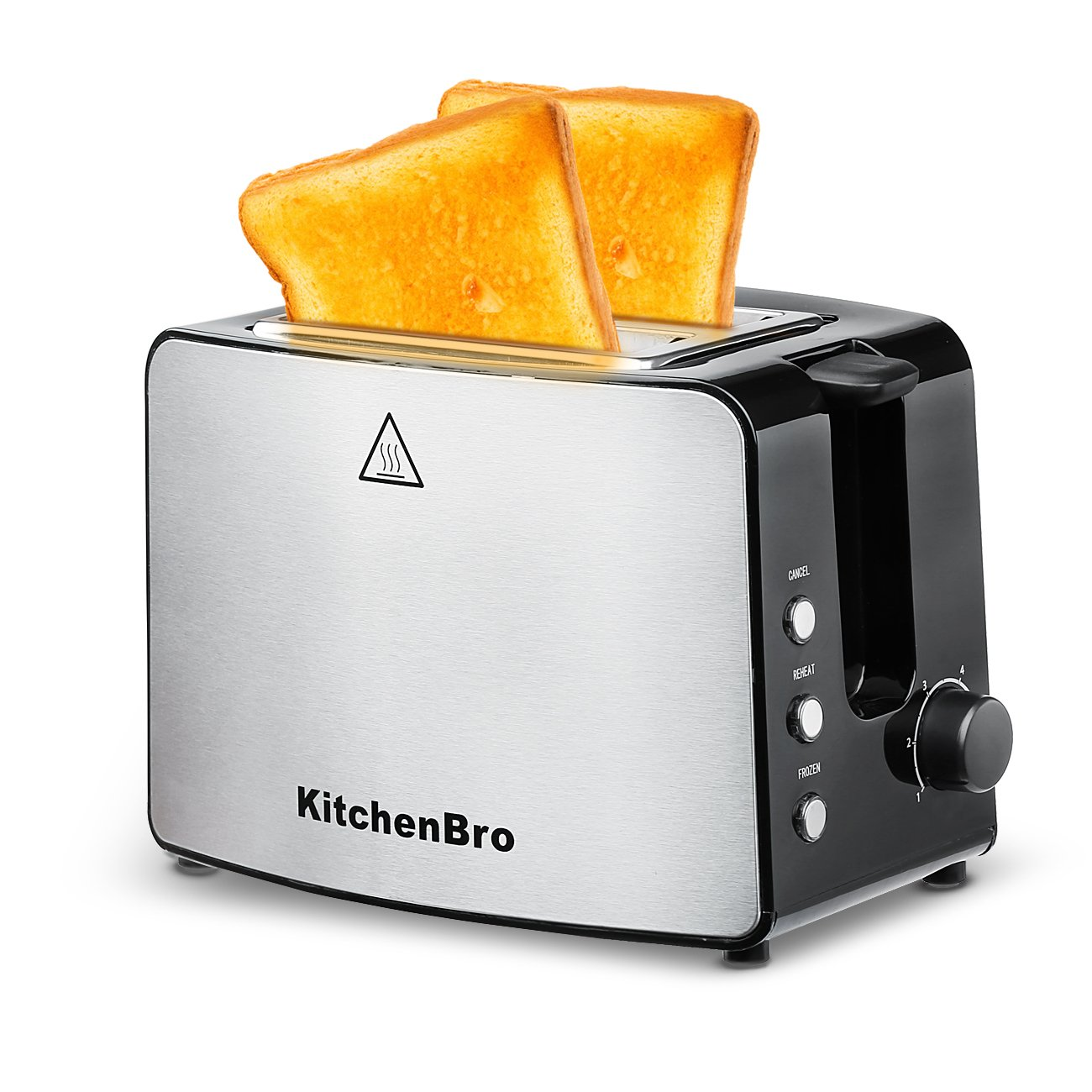 Toaster 2 Slice,Extra Wide Slots,Compact Stainless Steel,KitchenBro