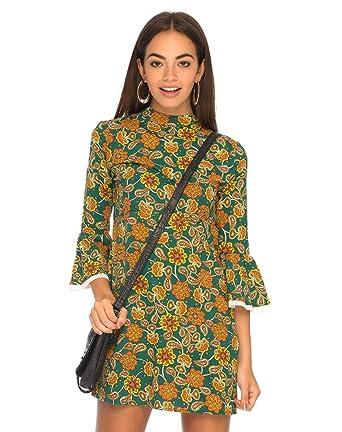 dcec6bf2f2de51 Motelrocks - Lou Babydoll Dress in Indian Summer Green by Motel   Amazon.co.uk  Clothing