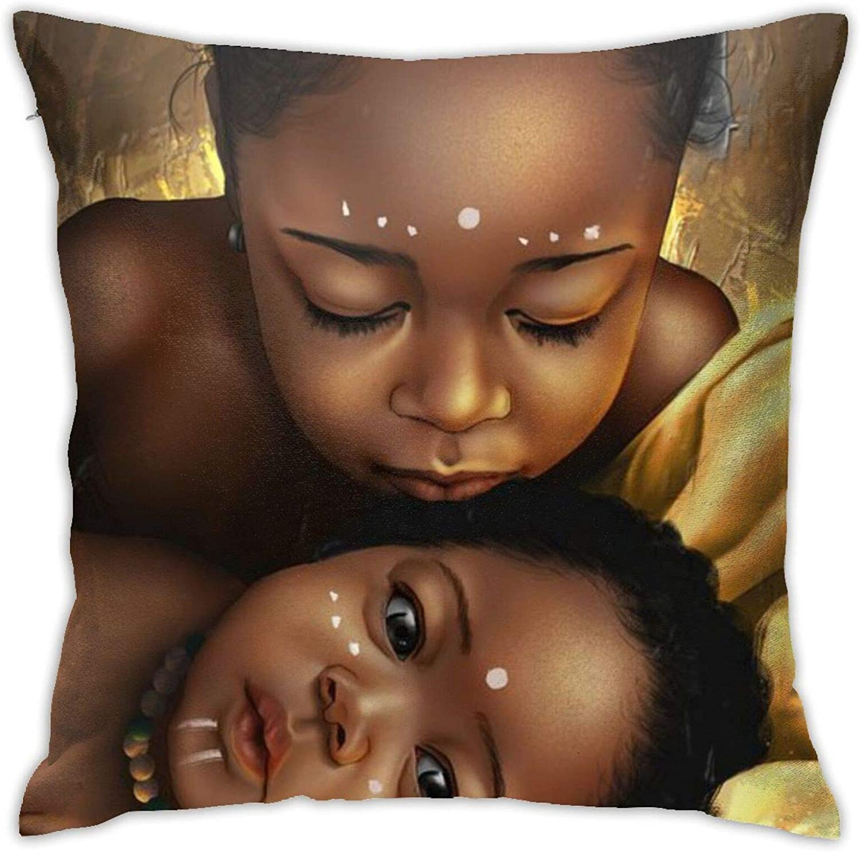QNOQME Pillowcase Tribal African American Girls Afro Hair Decor Throw Pillow Cover Black Woman Square Hidden Zipper Cushion Pillow Case Decorative Accent Pillow18x18 Inches