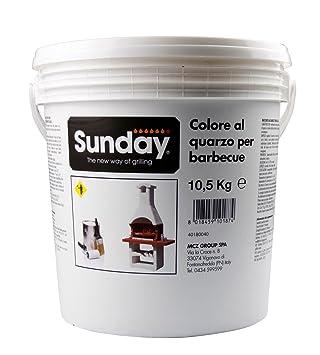 Sunday Grill - Bote de pintura 10, 5 kg bucciato al cuarzo blanco para barbacoa 40180040: Amazon.es: Jardín