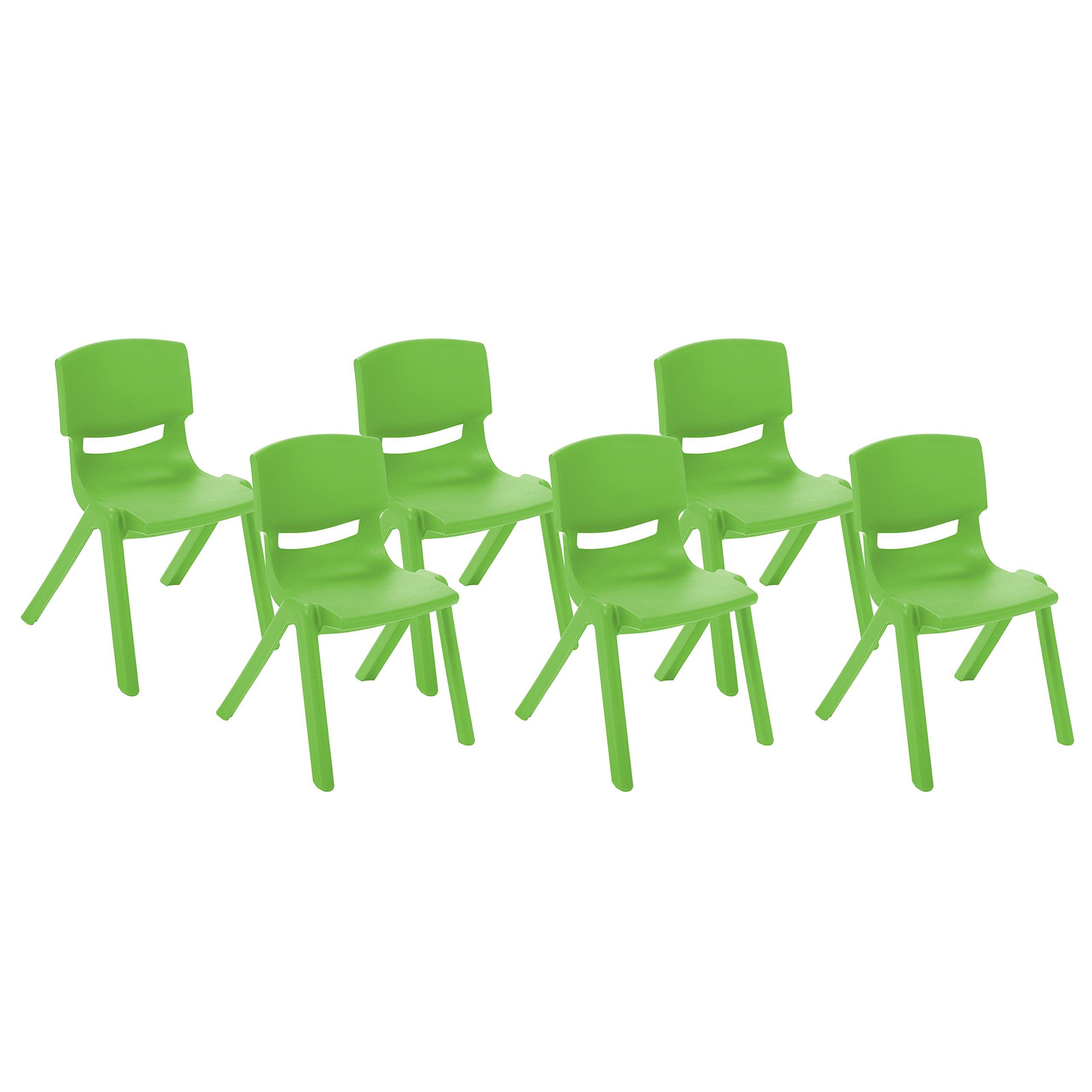 ECR4Kids 10'' School Stack Resin Chair, Grassy Green (6-Pack)