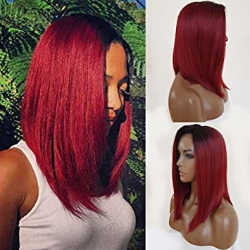 Amazoncom Qd Tizer Wine Red Ombre Hair Bob Wigs Synthetic Lace