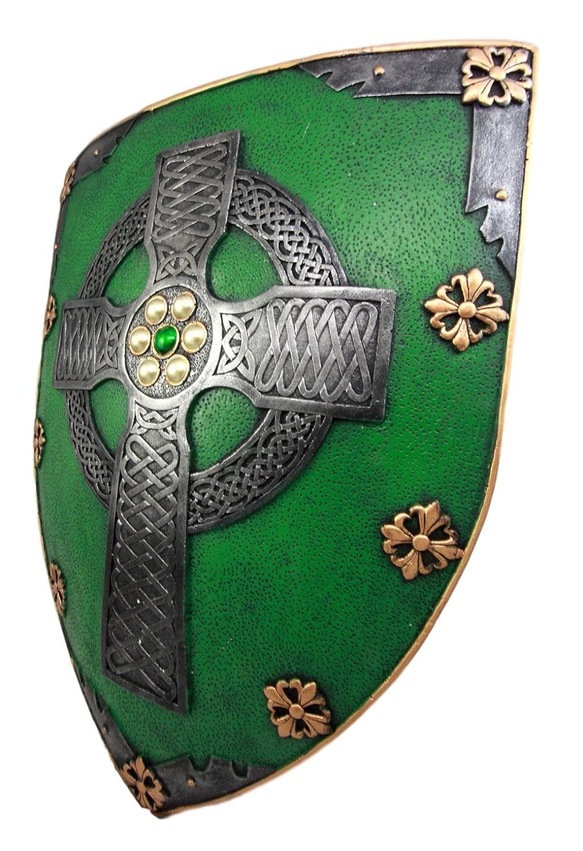 59a3f96daca Amazon.com  Atlantic Collectibles Large Saint Patrick Celtic Warrior Faith  Cross Shield Wall Plaque 17