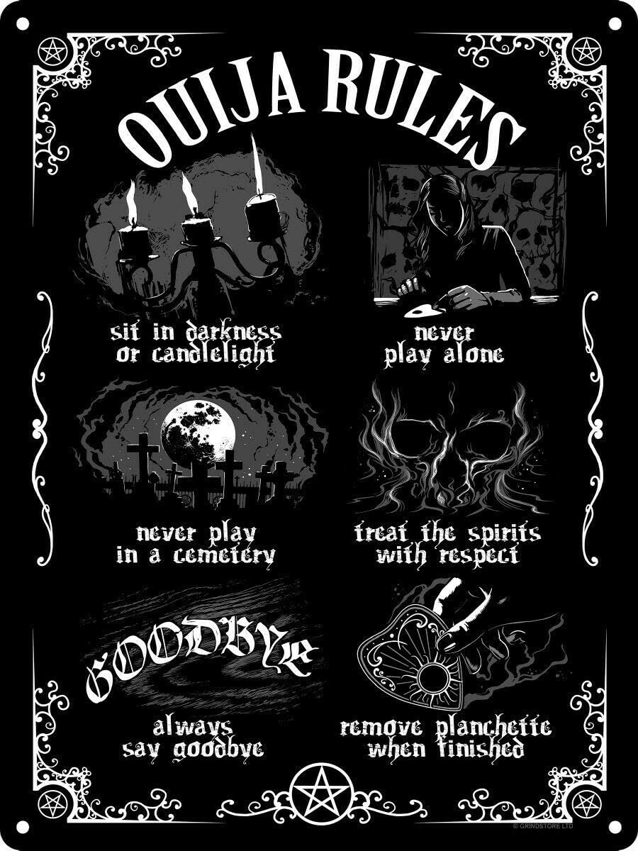 12 X 8 Inch Tin Sign Ouija Board Rules Vintage Iron Painting Metal Plate Novelty Decor Club Cafe Bar