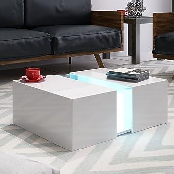 Panana Couchtisch Mit Led Aus Mdf 725x50x31cm Weiß Amazonde