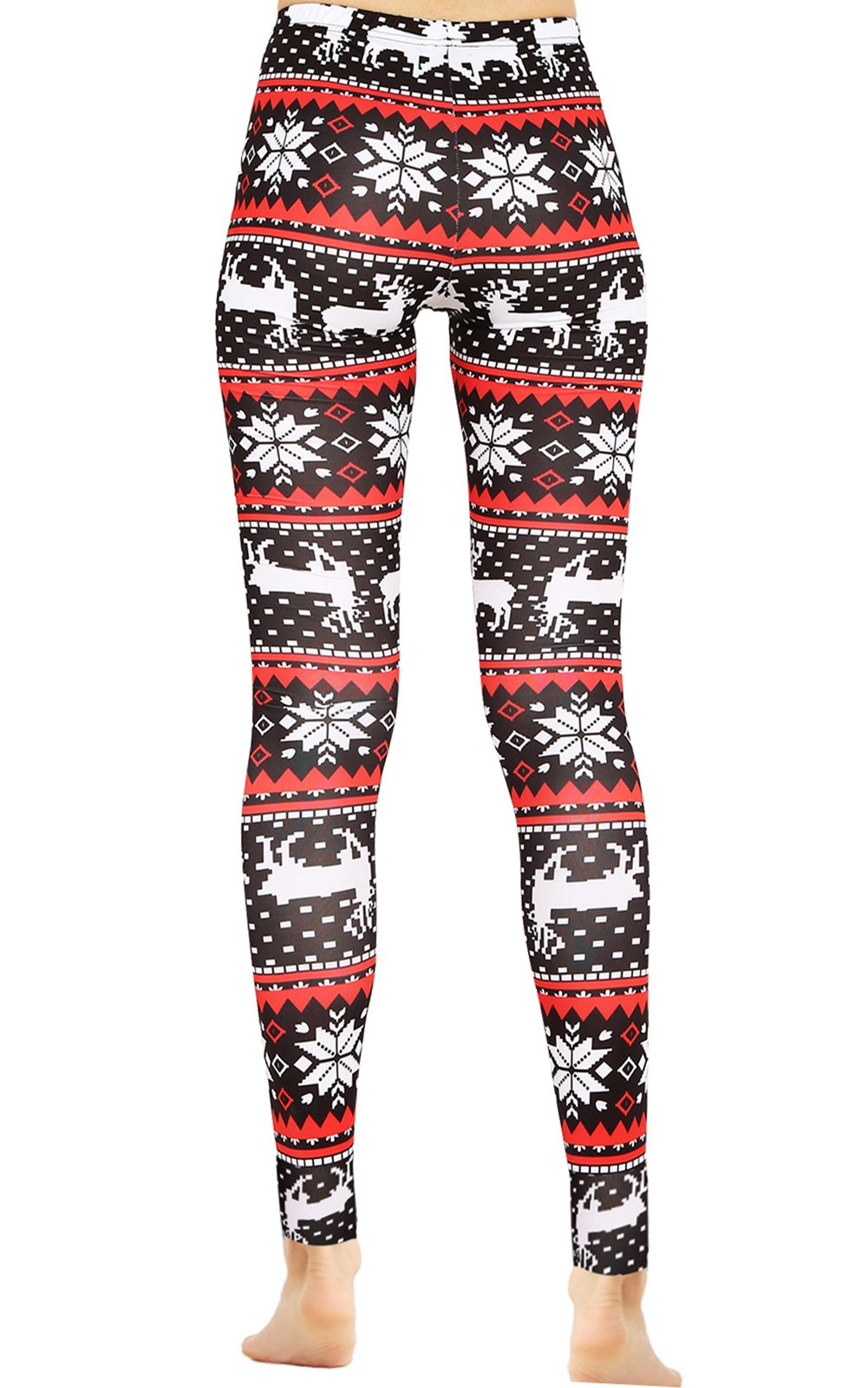 Christmas Reindeer Patterned Stretchy Ankle Leggings Tights Party Costume L
