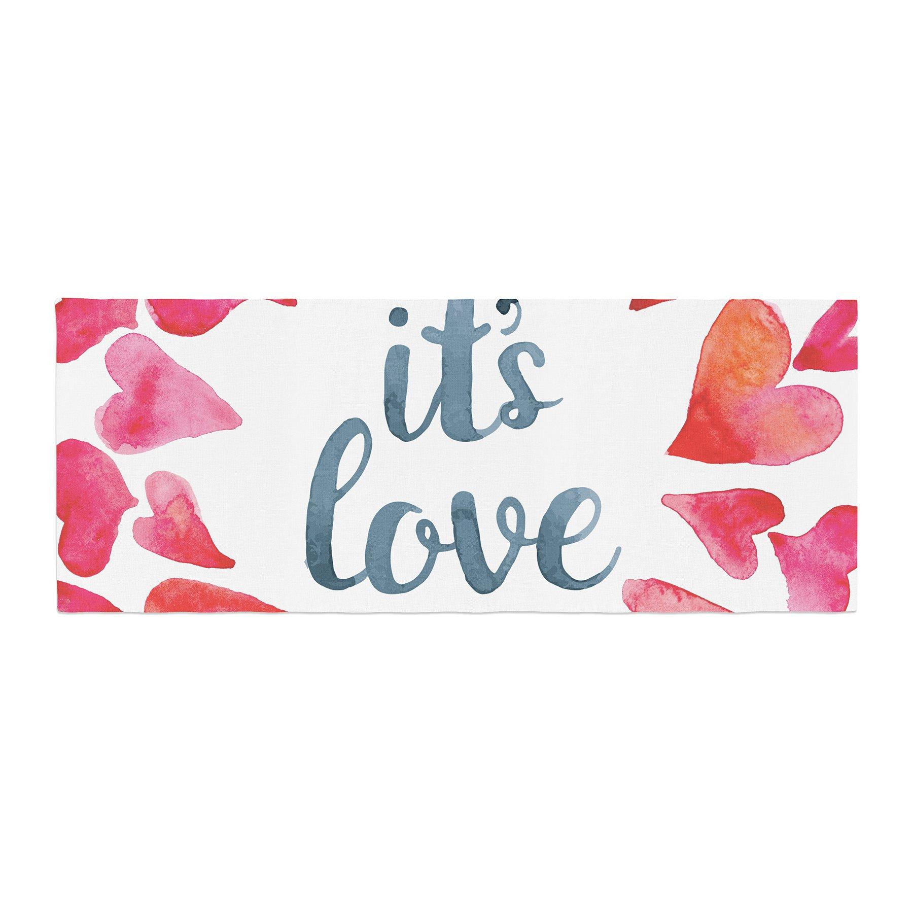 Kess InHouse KESS Original It's Love Red Pink Bed Runner, 34'' x 86'' by Kess InHouse (Image #1)