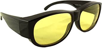 Night Driving Fit Over Glasses by Ideal Eyewear - Wear Over Prescription Glasses - Yellow Lens Reduces Glare