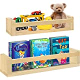 Y&ME YM Floating Nursery Shelves for Wall Set of 2, Natural Wood Wall Storage Shelves for Farmhouse Bathroom Decor, Nursery B