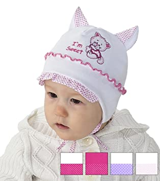 Baby Girl Girls Infant Hat Spring Autumn Cotton Cap 0 2 3 6 9 12 18 24 Months New 0-2 Months 38cm, White Pink Elephant