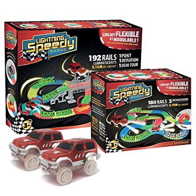 Passat Lightning Speedy Circuit de voiture flexible 372 rails, modulable et luminescent avec ses accessoires ultra fun - Vu à la TV