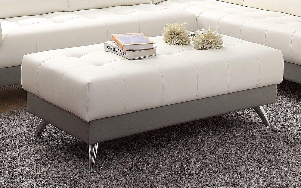 Strange Amazon Com Poundex F6983 Roberta White Light Grey Bonded Inzonedesignstudio Interior Chair Design Inzonedesignstudiocom