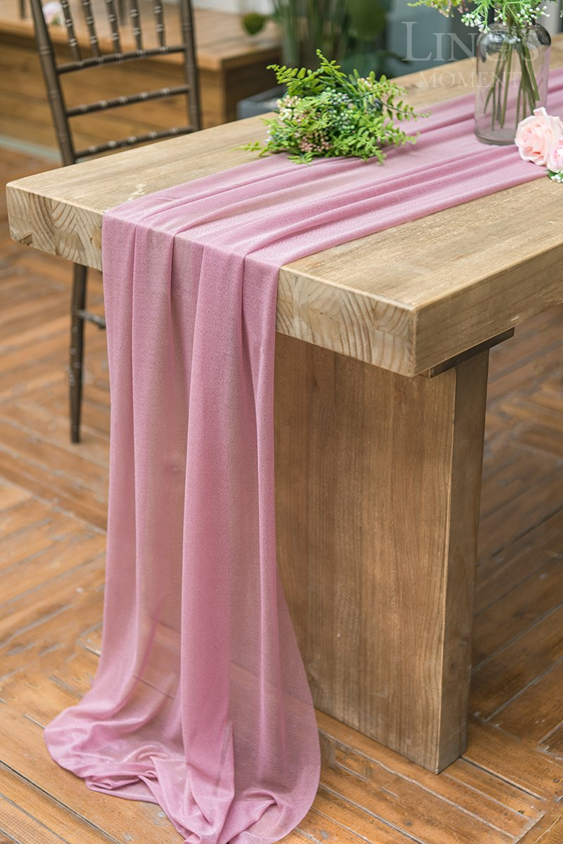 Ling's moment 32 x 120 inches Mauve/Dusty Rose Sheer Table Runner/Overlay Rustic Boho Wedding Party Bridal Shower Baby Shower Decorations by Ling's moment (Image #5)