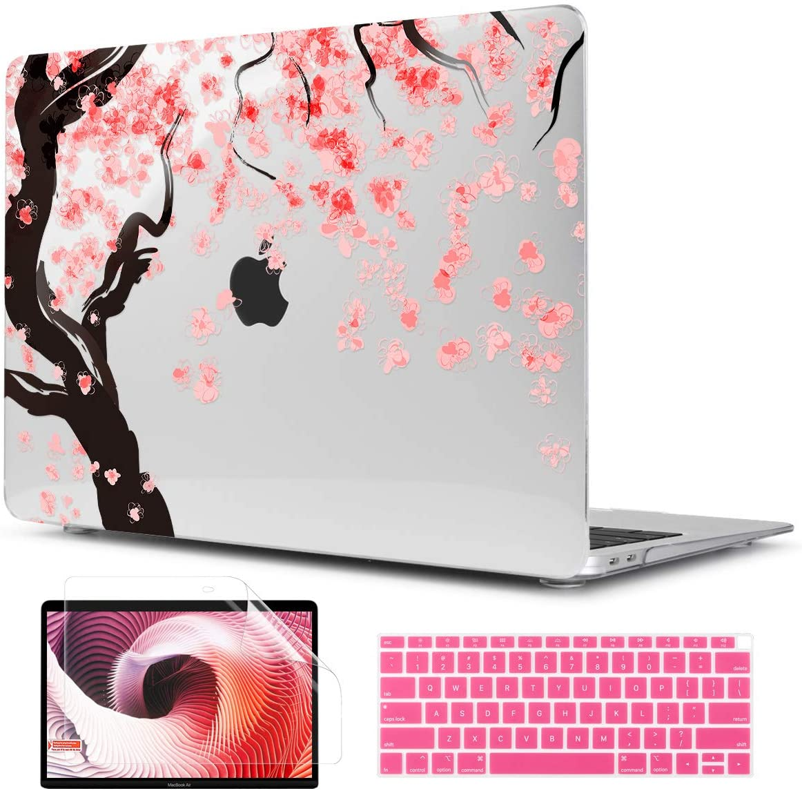 TwoL Cover for MacBook Air 13 inch 2019 2018, Cherry Blossoms Printed Hard Shell Case and Keyboard Skin Screen Protector for New MacBook Air 13 A1932 Release 2019 2018 with Touch ID